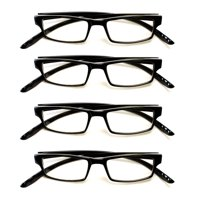 """4 PairsNewbee Fashion -""""Sanchez"""" Basic Simple Geeky Comfortable Wrap Around Reading Glasses, +1.50"""