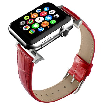 Apple Watch Band, Red Replacement Genuine Leather Strap for iWatch 20mm with Adaper
