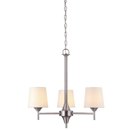 Nickel Three Light Chandelier - 3 Light Chandelier Brushed Nickel Finish with White Linen Fabric Shades