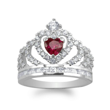 925 Sterling Silver 0.50ct Red Heart CZ Crown Band Ring Size (Crown Ring)