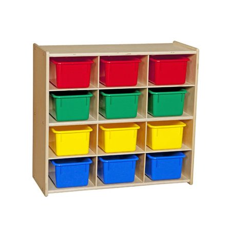Wood Designs Contender Baltic Birch Storage 12 Compartment Cubby with Trays