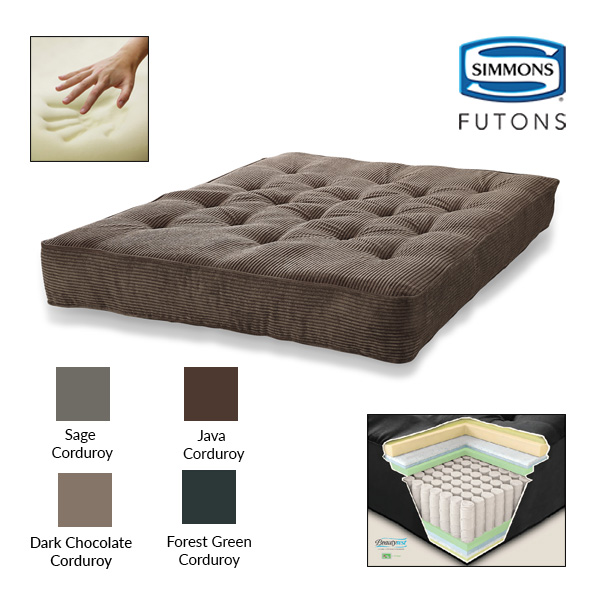 "Simmons Beautyrest 8"" Pocketed Coil Visco Corduroy Futon Mattress"