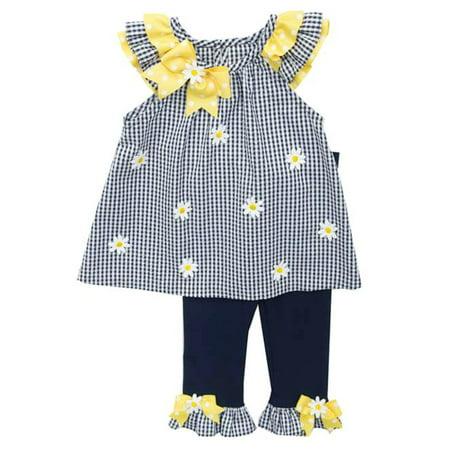 Rare Editions Toddler Drop (Rare Editions Little Girls Navy Gingham Daisy Legging Set 4 )