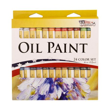 24 Color Set of Art Oil Paint in 12ml Tubes - Rich Vivid Colors for Artists, Students, Beginners - Canvas