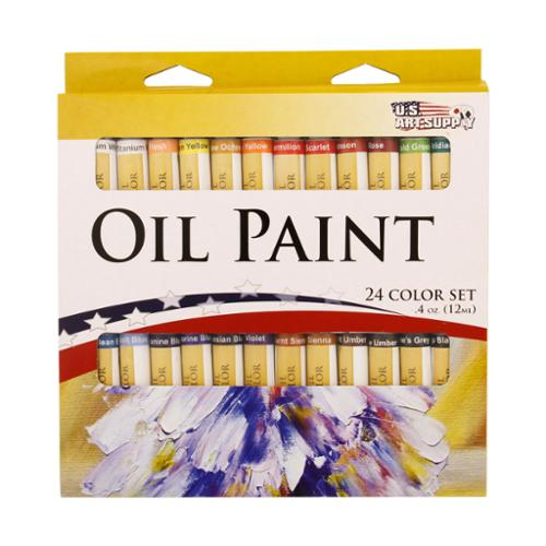 24 Color Set of Art Oil Paint in 12ml Tubes - Rich Vivid Colors for Artists, Students, Beginners - Canvas Portrait