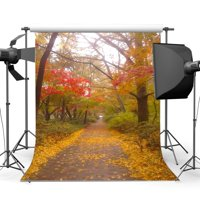 GreenDecor Polyster 5x7ft Photography Backdrop Jungle Forest Trees Golden Leaves Weathered Brick Path Road Nature Autumn Backdrops for Baby Kids Children Lover Portraits Background Photo Studio Props