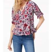 Burgundy White Womens Small Floral Knit Top S