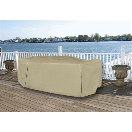 Durable Full Vinyl Premium Outdoor Round Patio Set Cover Khaki
