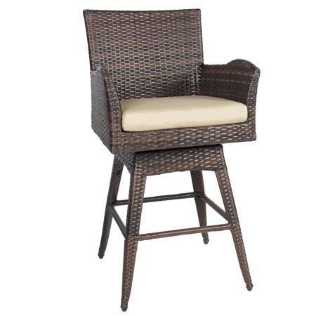 Best Choice Products Outdoor Brown Wicker Swivel Bar Stool w/ (Wood Wicker Bar Stools)