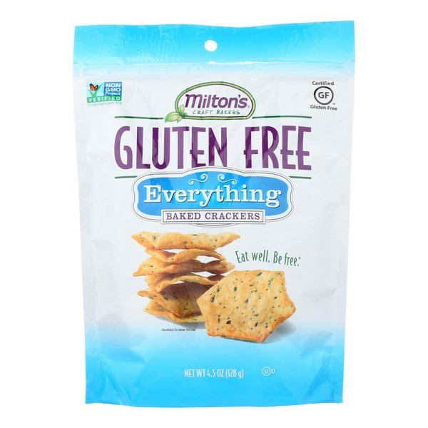 Miltons Gluten Free Baked Crackers - Everything - Pack of 12 - 4.5 Oz.