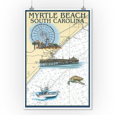 Myrtle Beach South Carolina Nautical Chart Lantern Press Poster 9x12 Art Print Wall Decor