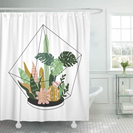 KSADK Succulent Contained Tropical House Plants Scandinavian Style Modern and Elegant with Terrarium with Cacti Shower Curtain Bathroom Curtain 60x72