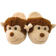 Kreative Unisex Little Kids Brown Tan Monkey Shaped Plush Slippers 12 Kids