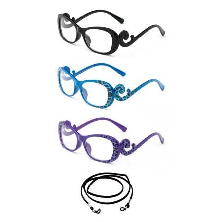 3 Pack Newbee Fashion- Comfortable Stylish High Quality Readers Leopard Side Frame Print Reading Glasses for Women with Bifocal Lenses with Lanyard