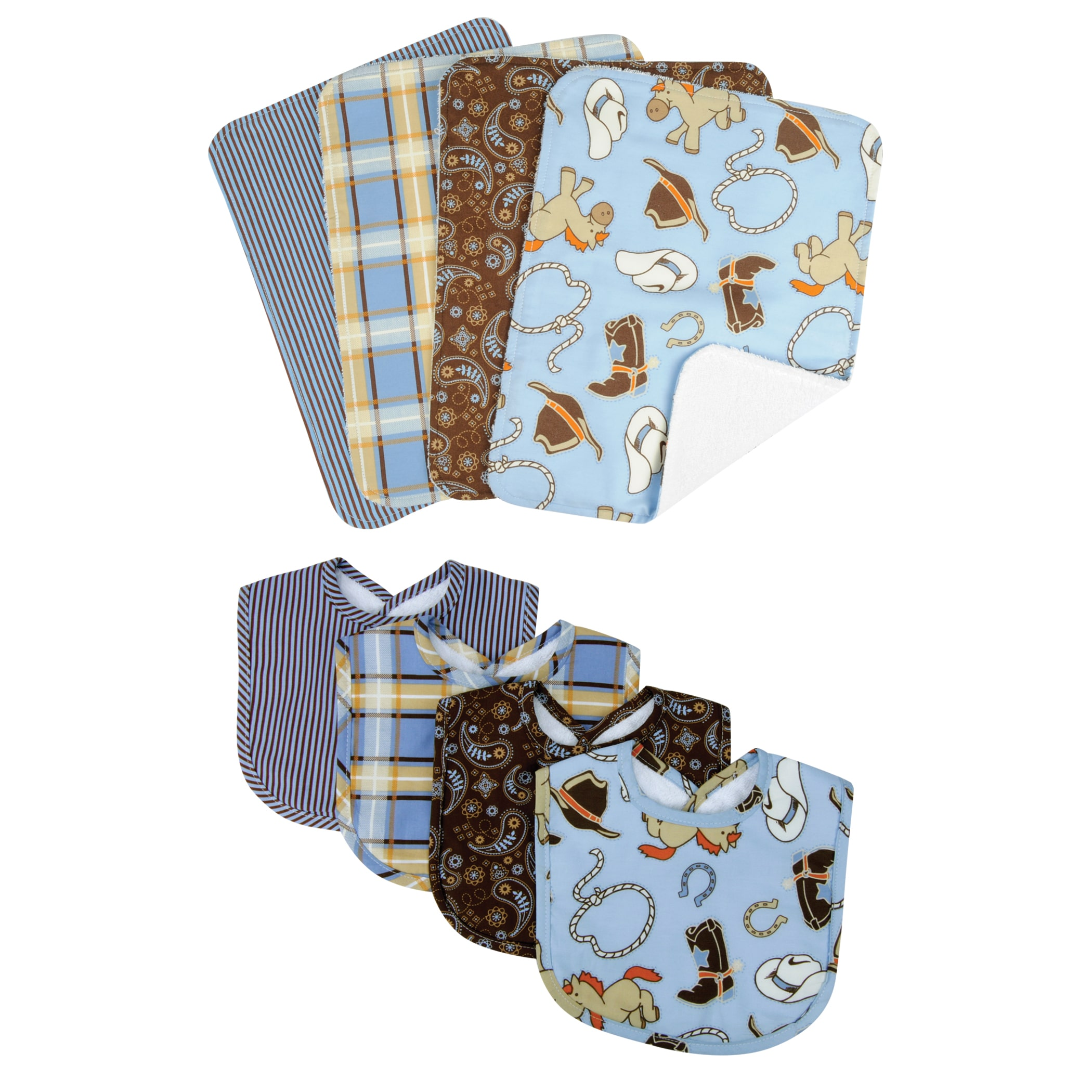 BOUQUET SET - COWBOY BABY - BIB & BURP
