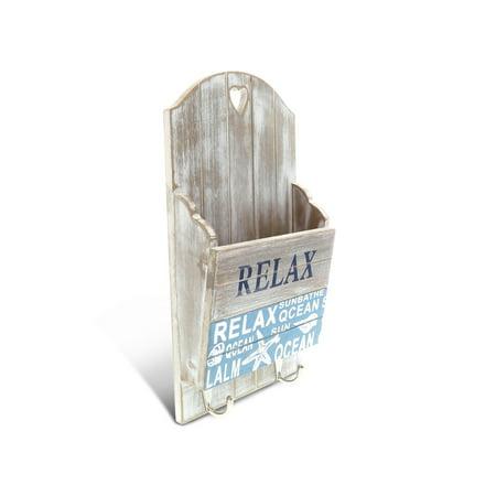 Item Holder - Nautical Decor CoTa Global Aqua Sky Wall Mounted Mail and 2 Hook Key Rack Holder
