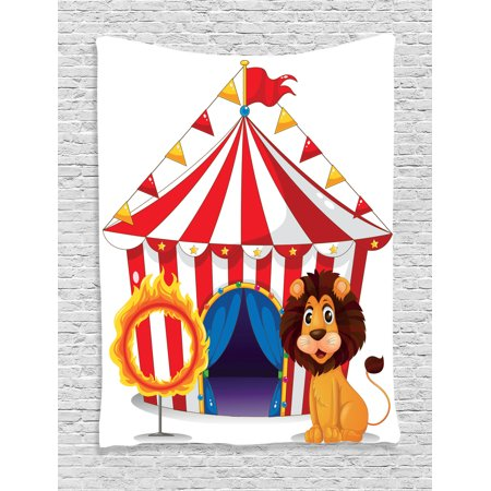 Circus Decor Wall Hanging Tapestry, Lion And A Fire Ring In Front Of The Circus Tent Lightbulbs Flame Adventure, Bedroom Living Room Dorm Accessories, By - Circus Decor