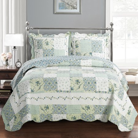 Brea Oversize Coverlet Floral Patchwork Print Soft and Wrinkle-Free Quilted Coverlet Set : (Standard Textile)