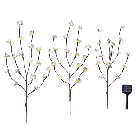 Solar White Blossom Tree Yard Stake with Adjustable Branches, Lighting Settings Include Steady-On or Flashing