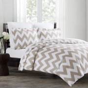 Echelon Home Chevron 3-piece Cotton Duvet Cover Set King Taupe