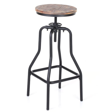 iKayaa Industrial Style Height Adjustable Swivel Bar Stool Natural Pinewood Top Kitchen Dining Breakfast Chair ()