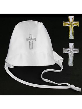 Baby Toddler Boys Christening Baptism White Hat Gold Silver Embroidered Cross