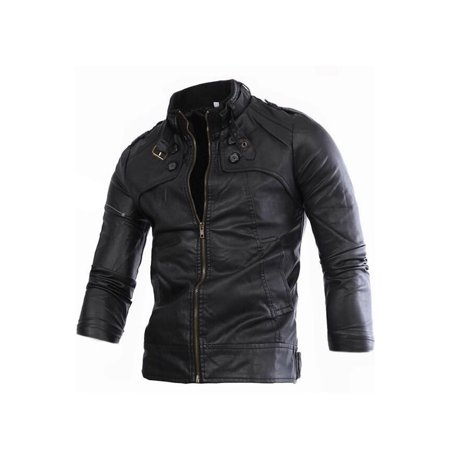 Men Long Sleeve Thick Winter Leather Jacket