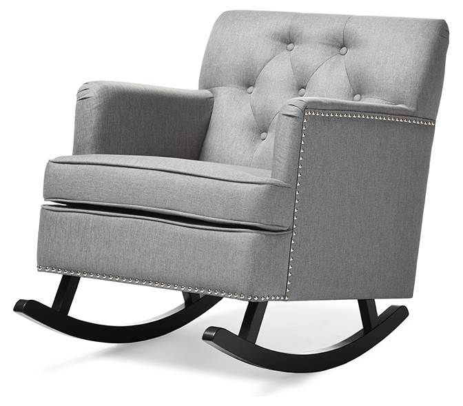 Baxton Studio Bethany Modern and Contemporary Gray Fabric Upholstered Button-Tufted Rocking Chair by Wholesale Interiors
