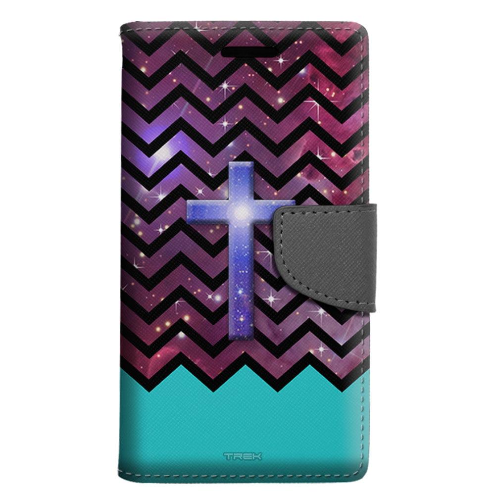 ZTE Fanfare Wallet Case - Cross on Chevron Black White Turquoise Ribon on Nebula Case