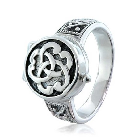 Triquetra Irish Celtic Knot Trinity Signet Locket Poison Ring For Women For Men For Teen Oxidized 925 Sterling (Irish Celtic Trinity Knot)