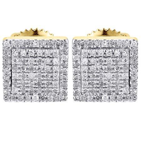 0.06 Ct Mens Diamond - Diamond Earrings Mens 10K Yellow Gold Round Cut Square Studs Fully Iced 0.25 Ct.