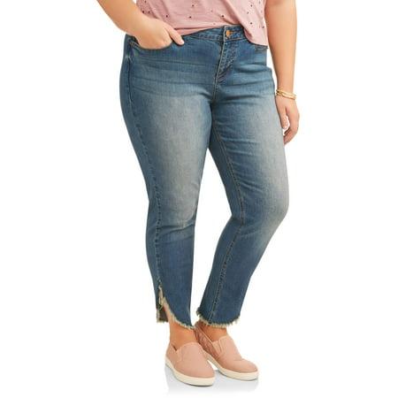- Women's Plus Angled Fray Hem Skinny Jeans