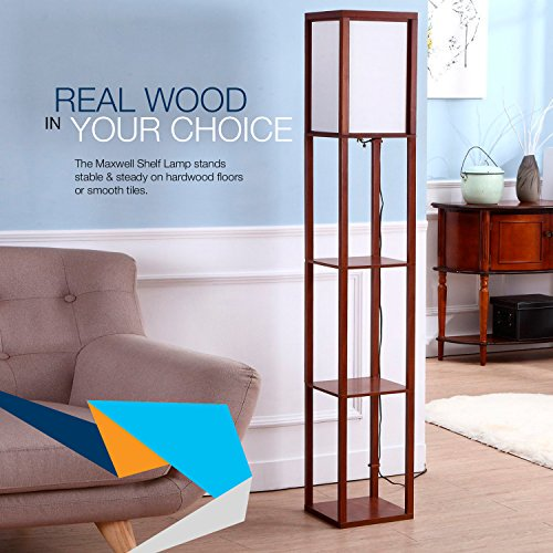 30e3d5ecd022c Brightech - Maxwell Shelf Floor Lamp - Modern Mood Lighting for your Living  Room and Bedroom - Shade Diffused Light Source in a Natural Wood Frame with  ...