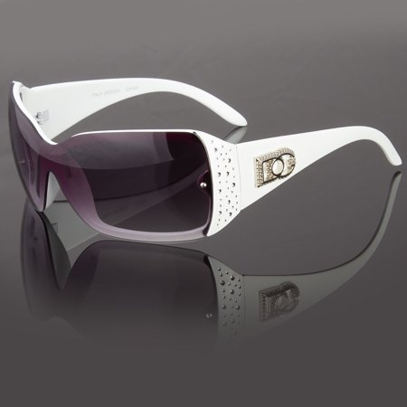 DG Eyewear Womens Rhinestones Sunglasses Designer Shades Fashion Wrap Around