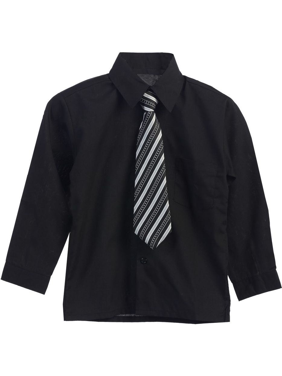 Little Boys Black Stripe Tie Long Sleeve Button Special Occasion Shirt 2T-7