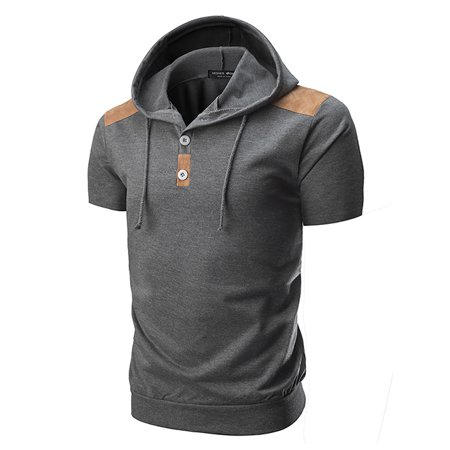 Mens Short Sleeve Hooded T-Shirt Slim Fit Casual Graphic Basic