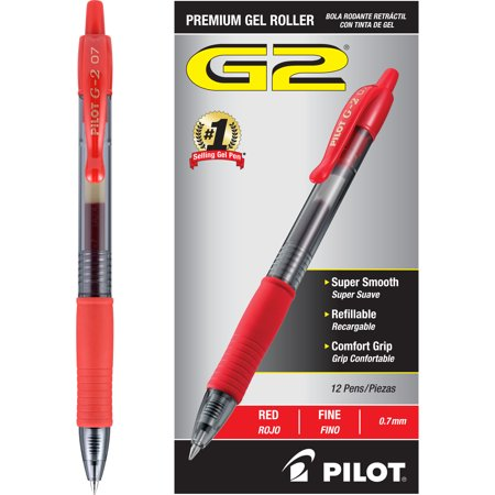 Pilot® G-2 Refillable Roller Ball Gel Pen, 0.7mm Fine - Red Ink (12 Per Pack)