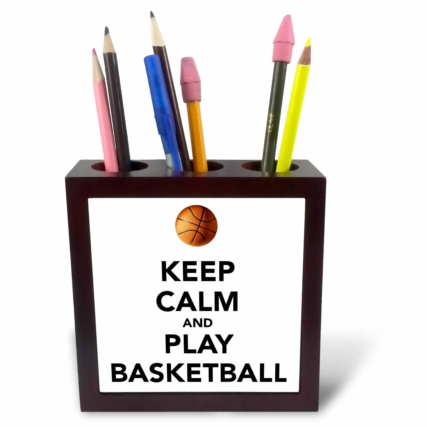 3dRose Keep calm and play basketball, White and Black, Tile Pen Holder, 5-inch