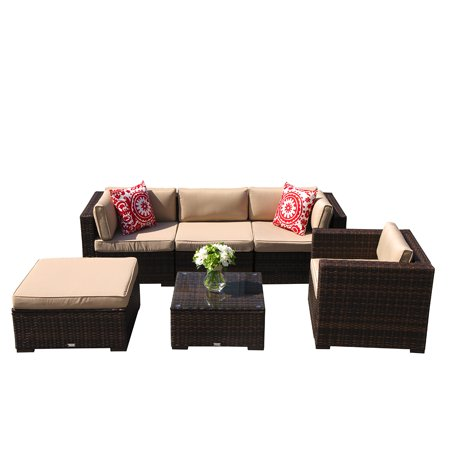 Outdoor Furniture Sectional Sofa Set (6-Piece Set) All-Weather Brown Wicker with Beige  Seat Cushions &  Glass Coffee Table & Single Sofa Chair| Patio, Backyard, Pool|Aluminum Frame ()