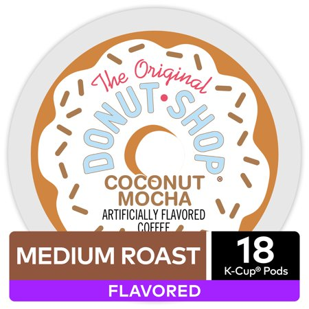 The Original Donut Shop Coconut Mocha, Flavored Coffee Keurig K-Cup Pod, Medium Roast, 18 Ct