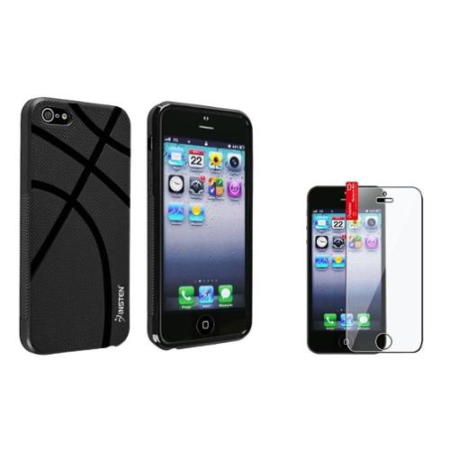 Insten Black Basketball Lover Veins TPU Case+3X Clear Screen Protector For iPhone 5S 5
