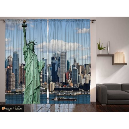 Classroom 4th July Statue Liberty New York Manhattan Americana Curtain 2 Panels](Classroom Curtains)