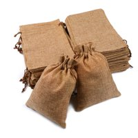 25/50/100x Burlap Gift Bags Wedding Hessian Jute Favor Bags Linen Jewelry Pouches with Drawstring for Birthday, Party, Wedding Favors, Present