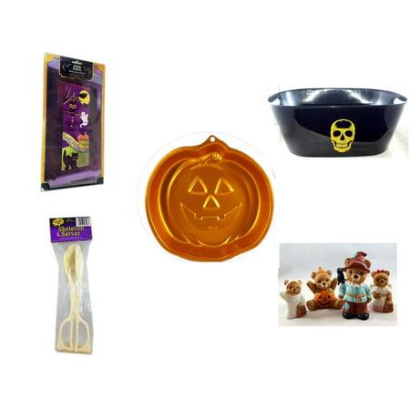 Halloween Fun Gift Bundle [5 Piece] - Happy  Door Panel - Black With Skeleton Oval Party Tub - Wilton Iridescents Jack-O-Lantern Pan - Skeleton Server  - Homco  Set No. 1426