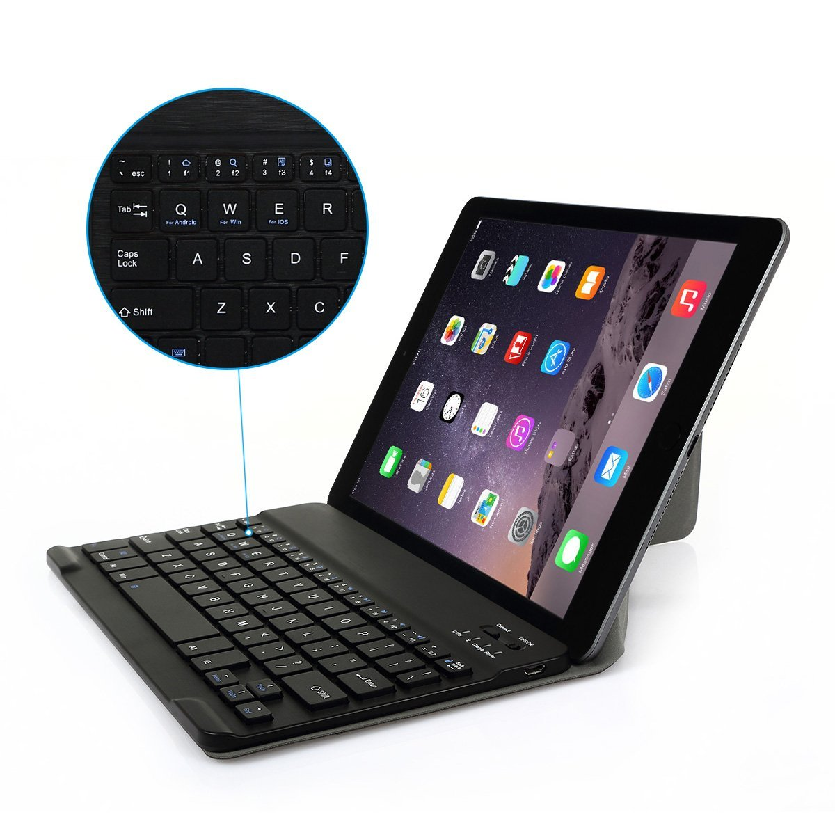 "CoastaCloud Bluetooh Keyboard for Samsung Galaxy Tab S 10.5"" US Layout Detachable ABS Bluetooth Wireless Universal Magnetic Case Cover Black"