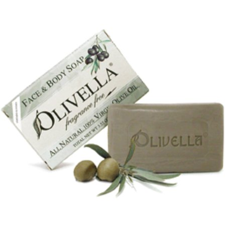 Olivella All Natural 100% Virgin Olive Oil Face & Body Soap, Fragrance Free 3.52 oz