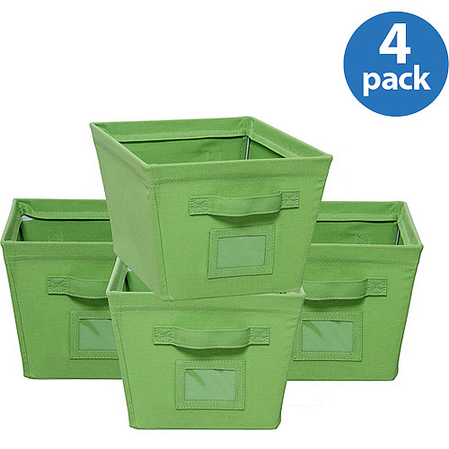 Canvas Bins Green, Set of 4
