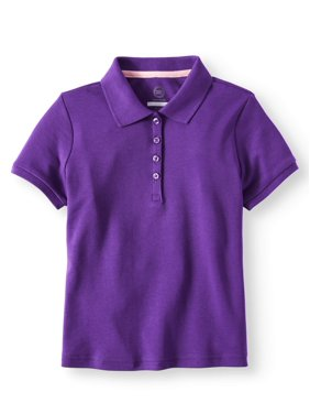 Wonder Nation Girls School Uniform Short Sleeve Interlock Polo