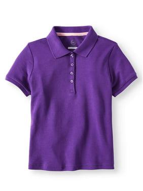 Wonder Nation Girls School Uniform Short Sleeve Interlock Polo