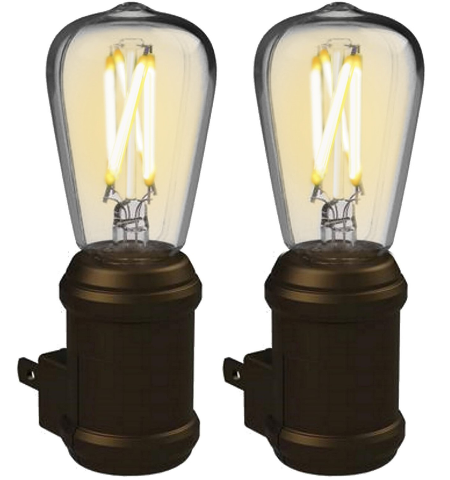 Westek LED Edison Filament Plug-In Vintage Night Light - Energy Efficient - Auto Dusk-Dawn Sensor - Warm Amber Glow, Ideal for Bedrooms, Bathrooms, Ha
